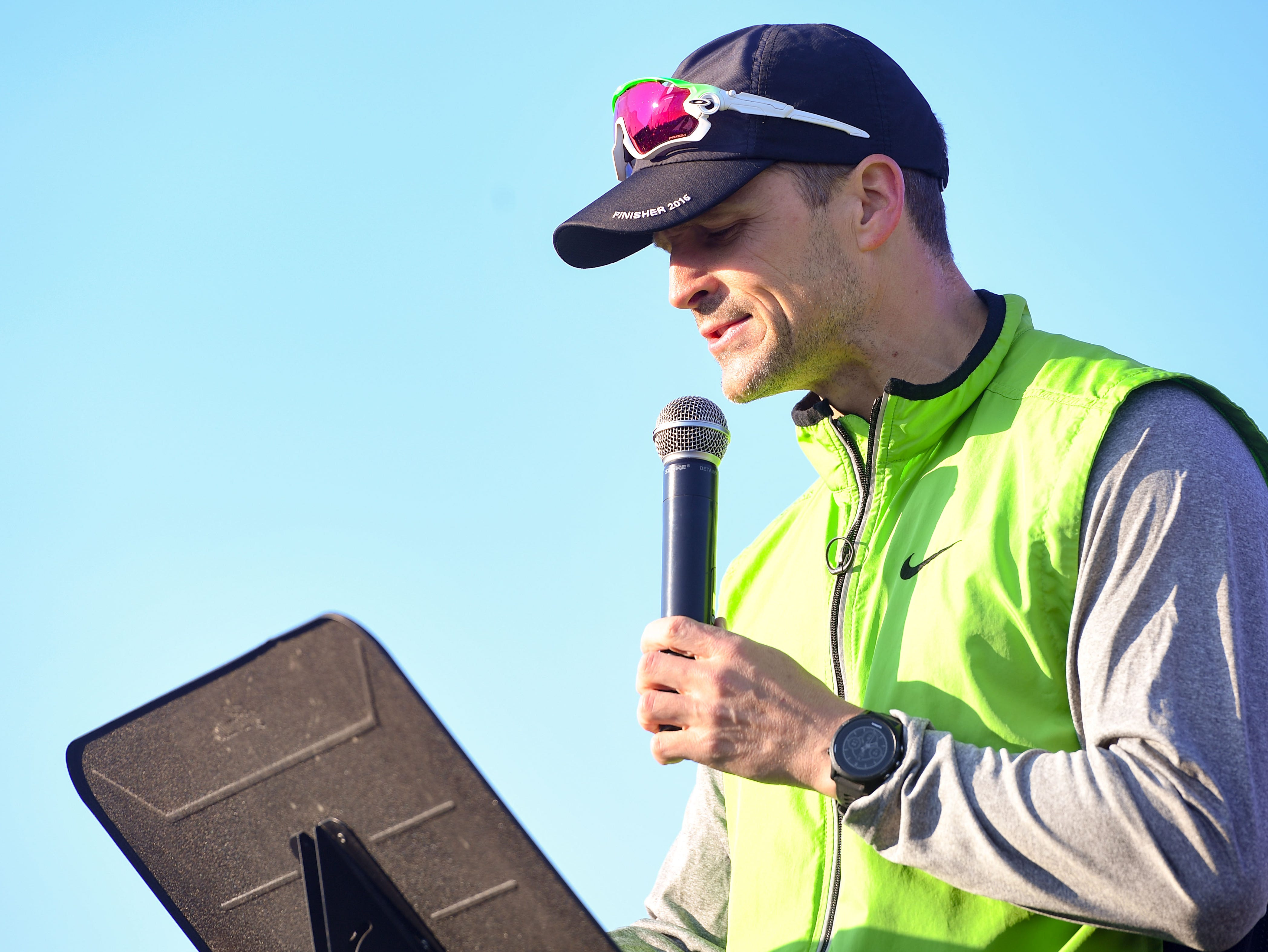 Mayor Paul TenHaken makes a proclamation before the start of the 31st Avera Health Race Against Cancer on Saturday morning, May 11, in Sioux Falls.