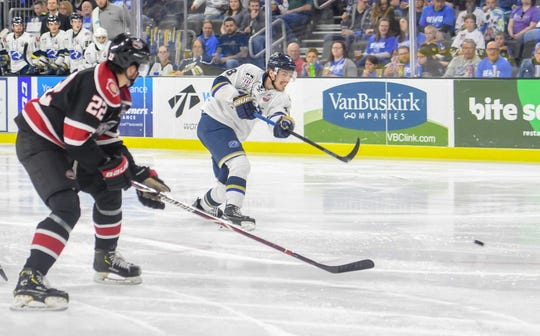 Sioux Falls Stampede forward Blake Bride makes the first goal against the Chicago Steel in game one in the Clark Cup finals Friday, May 10, at the Sanford Premier Center in Sioux Falls.