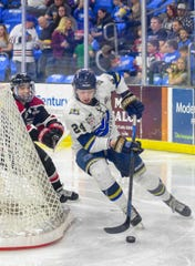 Max Crozier, defenseman for the Sioux Falls Stampede, moves the puck behind the goal during game one of the Clark Cup finals against the Chicago Steel on Friday, May 10, at the Sanford Premier Center in Sioux Falls.