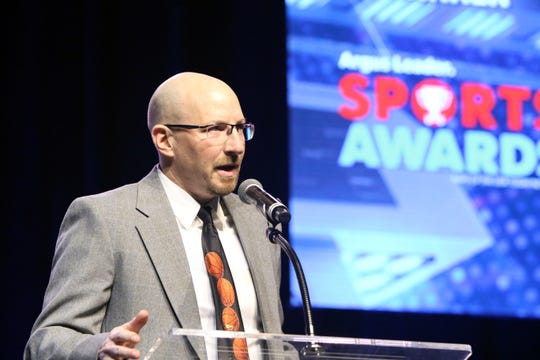 Mark Stadem of Brandon Valley accepts the Coach of the Year Award at the Argus Leader Sports Awards ceremony Friday night at the Pentagon.
