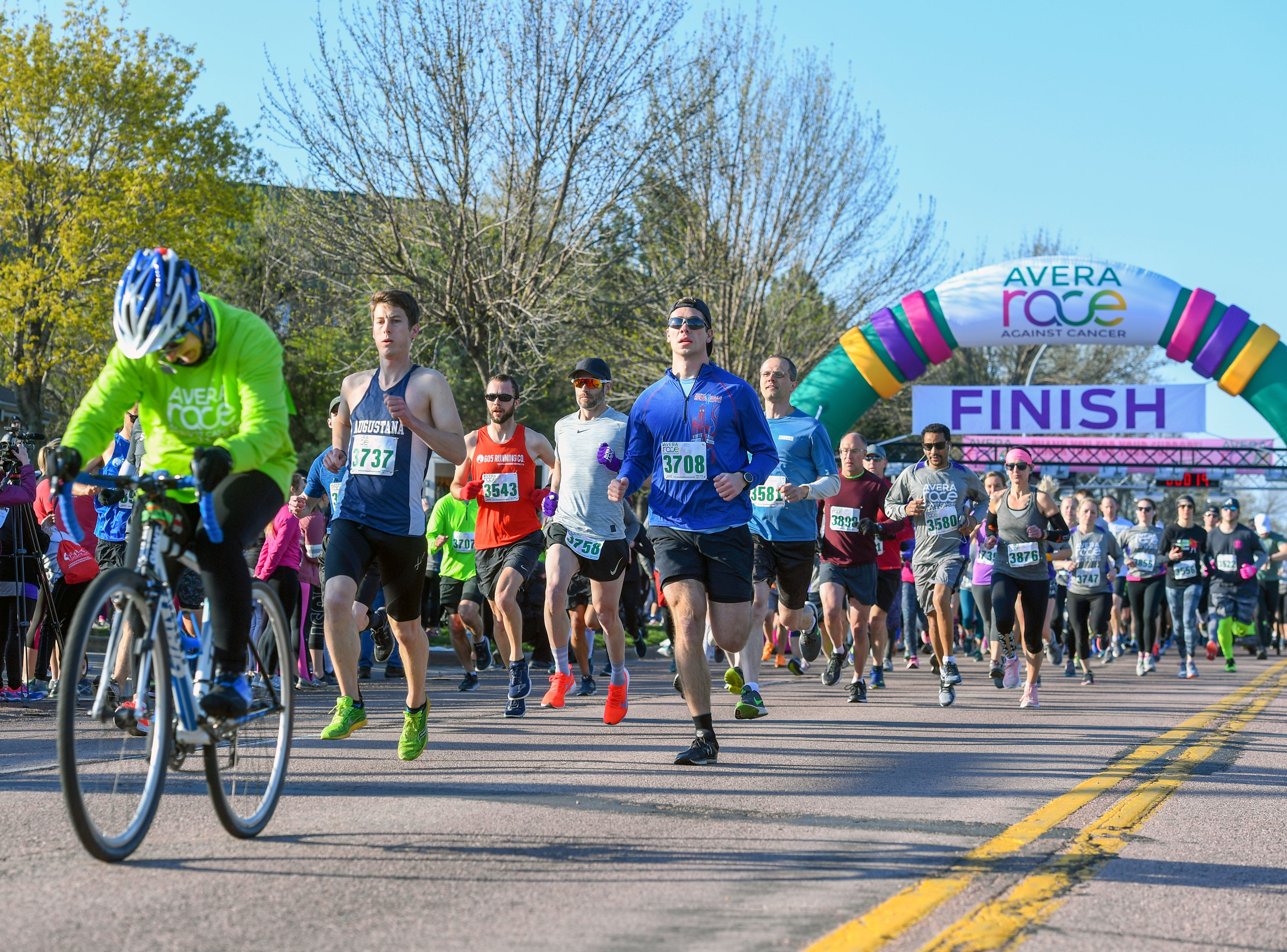 Participants kick off the 10K race at the 31st Avera Health Race Against Cancer on Saturday morning, May 11, in Sioux Falls.