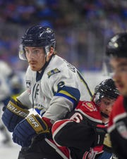 Sioux Falls Stampede forward Blake Bride looks past Chicago Steel players during game one in the Clark Cup finals on Friday, May 10, at the Sanford Premier Center in Sioux Falls.