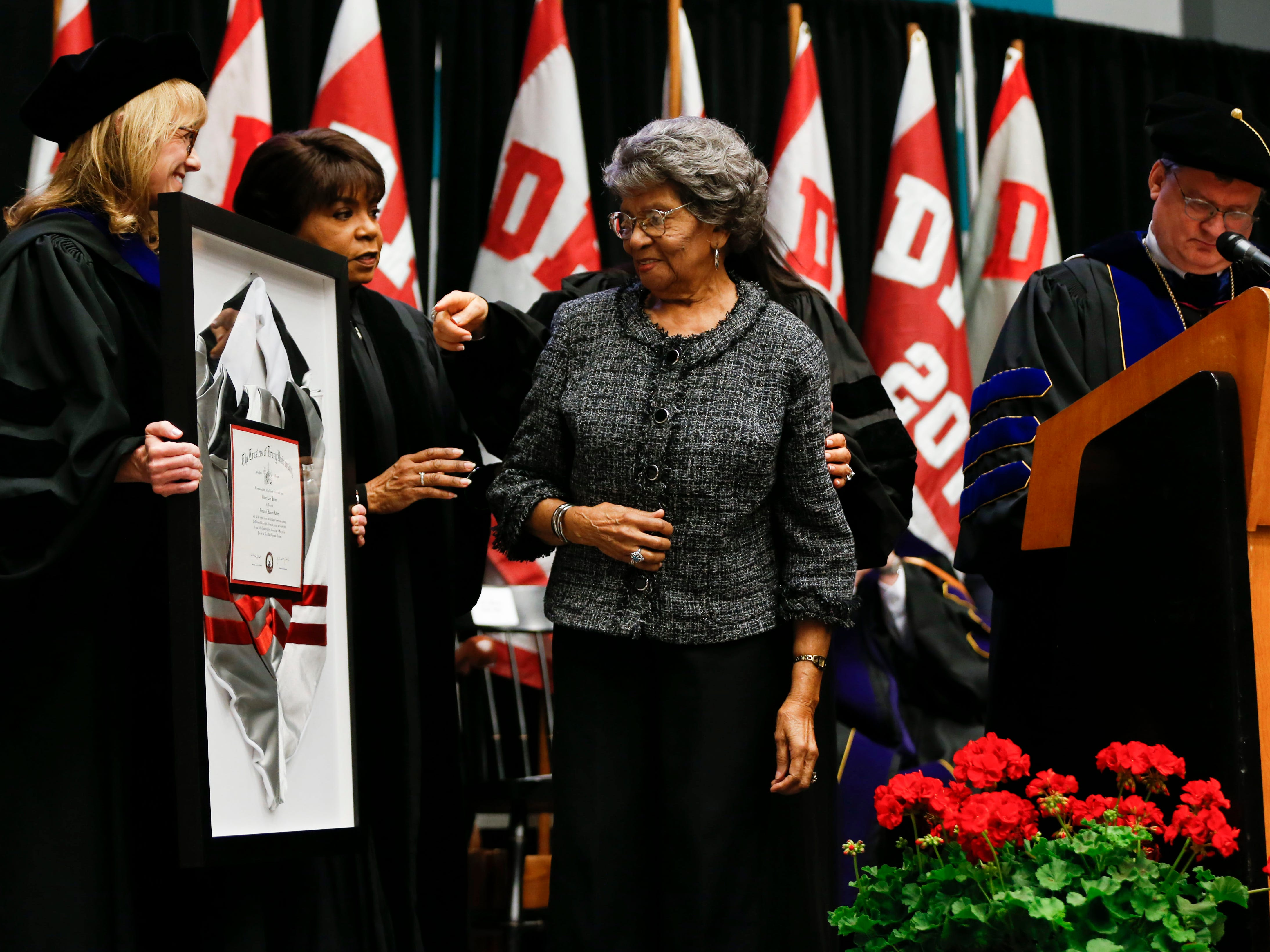 Leola Montgomery Brown accepts a honorary degree on behalf of her late husband Oliver Brown, who filed a lawsuit against the Topeka Board of Education leading to the famous civil rights case Brown vs. Board of Education, during the Drury University Commencement Ceremony at the O'Reilly Family Event Center on Saturday, May 11, 2019.