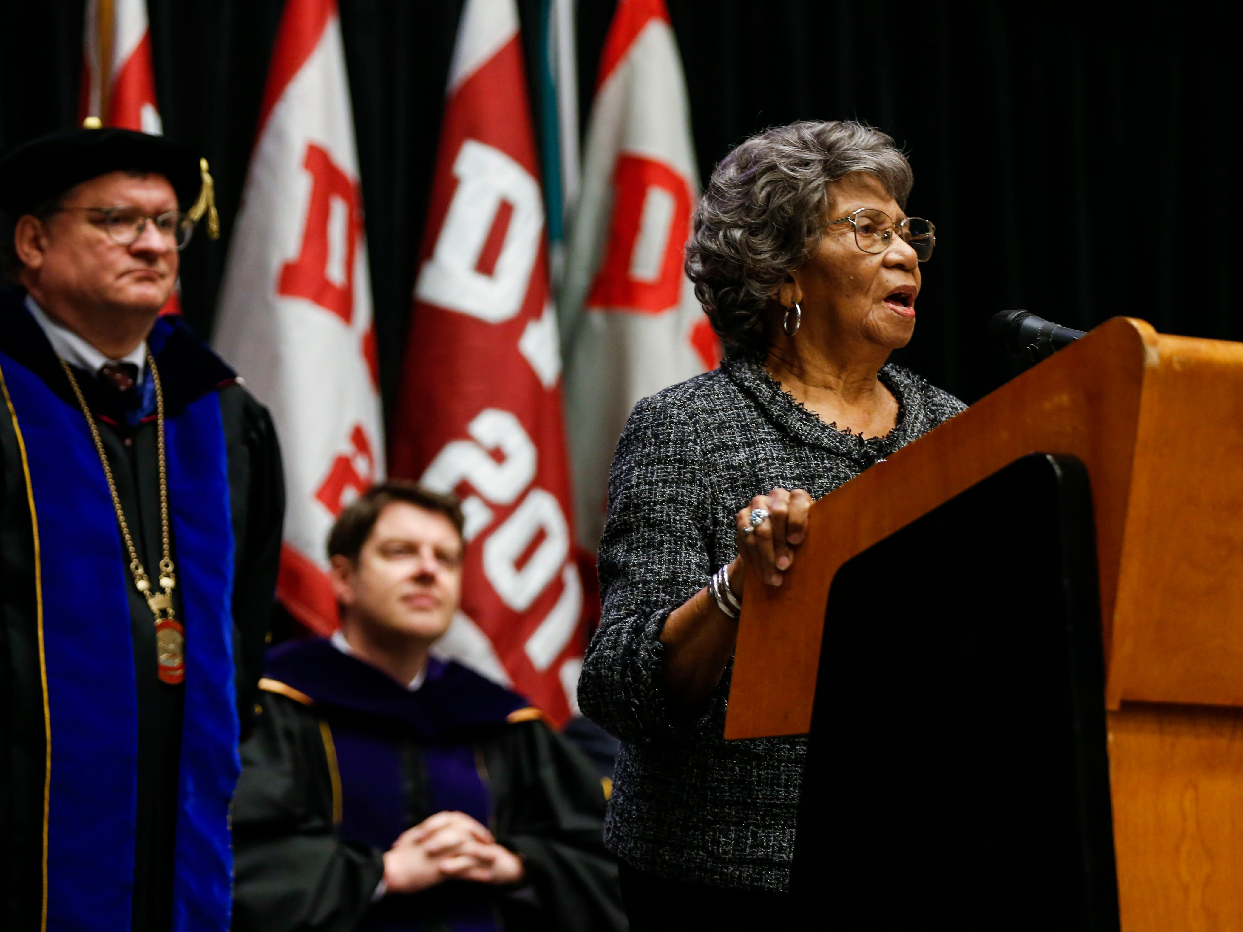 Leola Montgomery Brown speaks to Drury University graduates during the Drury University Commencement Ceremony at the O'Reilly Family Event Center on Saturday, May 11, 2019.