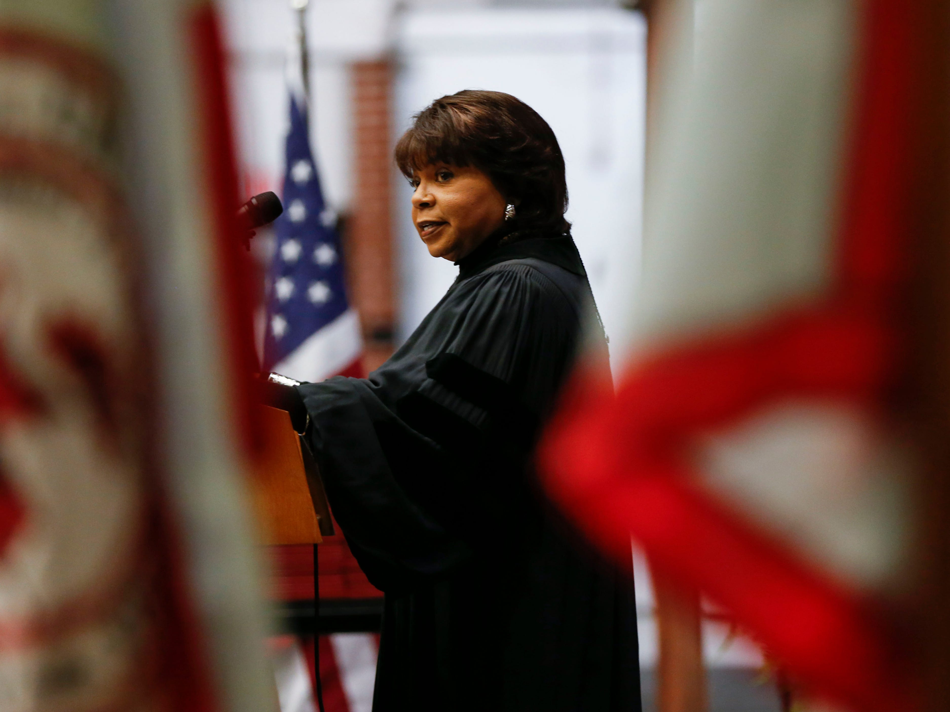 Cheryl Brown Henderson, the daughter of Rev. Oliver Brown who filed a lawsuit against the Topeka Board of Education leading to the famous civil rights case Brown vs. Board of Education, delivers the commencement address during the Drury University Commencement Ceremony at the O'Reilly Family Event Center on Saturday, May 11, 2019.