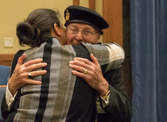 Fort Leonard Wood welcomed Auschwitz survivor Gunther Skaletz as its guest speaker to the 2019 Holocaust Remembrance Day Observance at the Main Post Chapel May 2. An attendee thanks and embraces Skaletz following his speech.