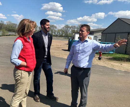 Public Services Director Pat Shea (right) led U.S. Sen. Tina Smith and state Rep. Dan Wolgamott on a tour of the St. Cloud Waste Water Treatment Facility on Saturday, May 11.