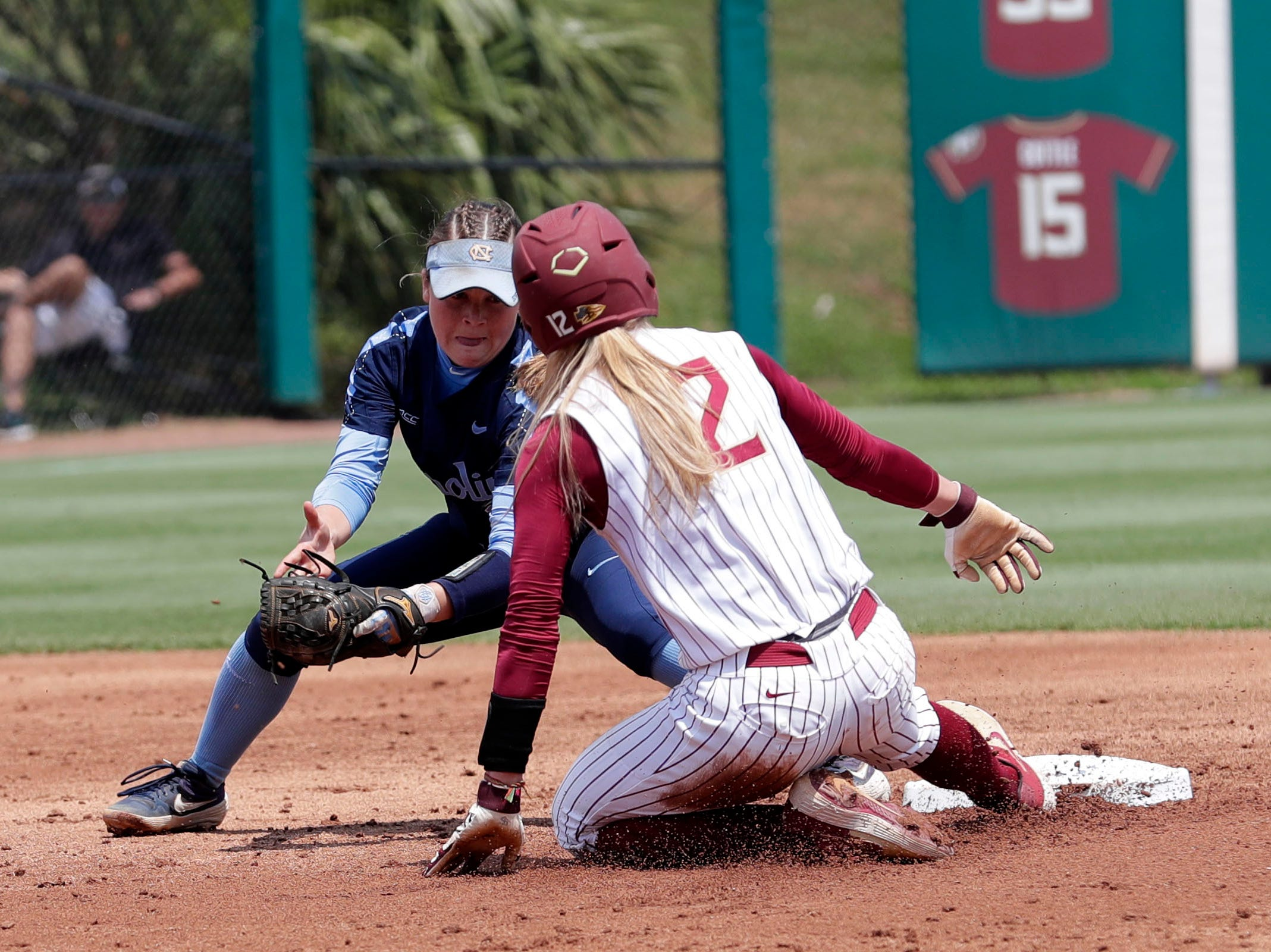 Florida State Seminoles infielder Carsyn Gordon (12) steals second base. The Florida State Seminoles host the UNC Tar Heels for the ACC Softball Tournament finals Saturday, May 11, 2019.