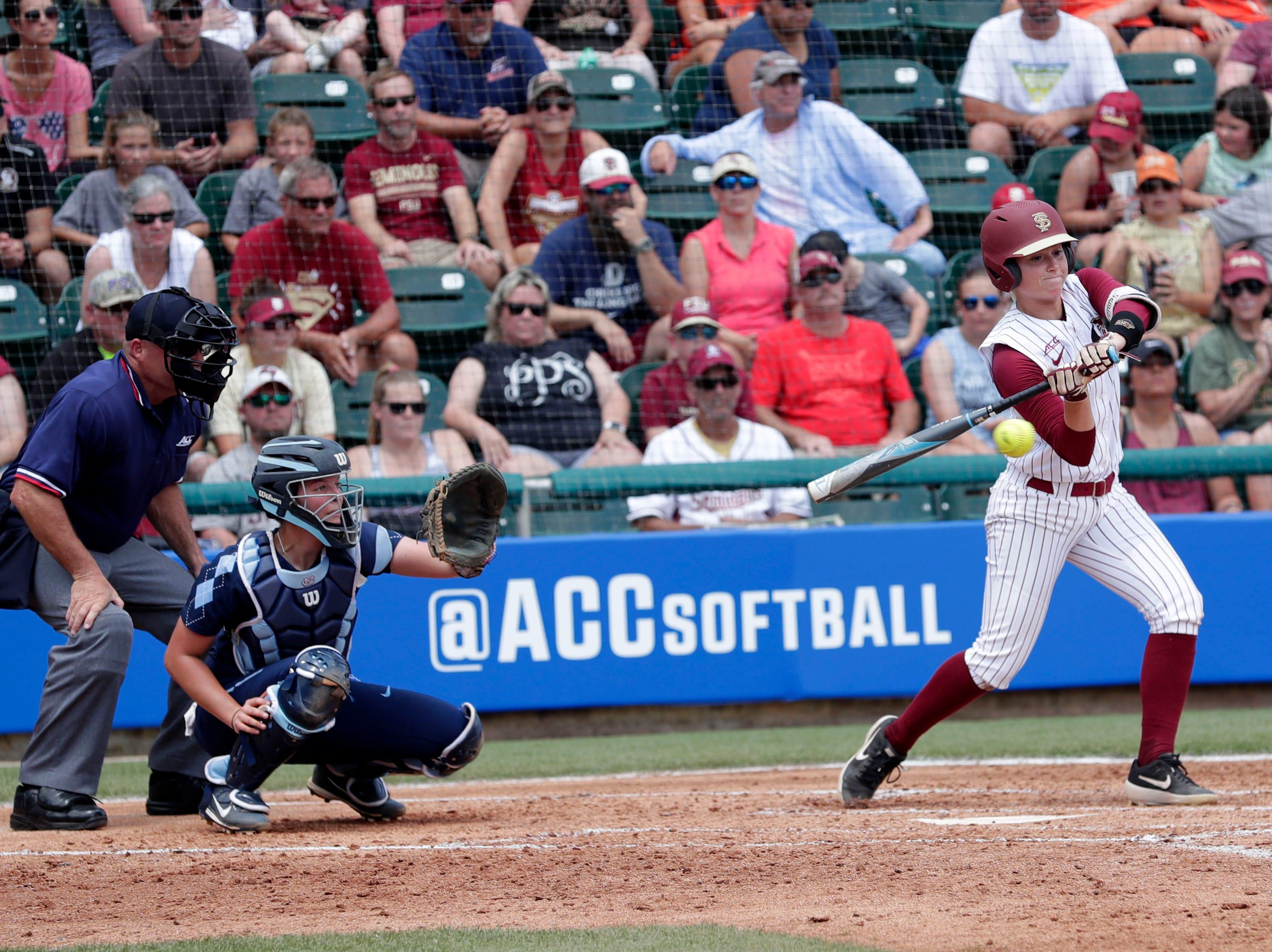 Florida State Seminoles infielder Dani Morgan (1) makes contact on her swing. The Florida State Seminoles host the UNC Tar Heels for the ACC Softball Tournament finals Saturday, May 11, 2019.