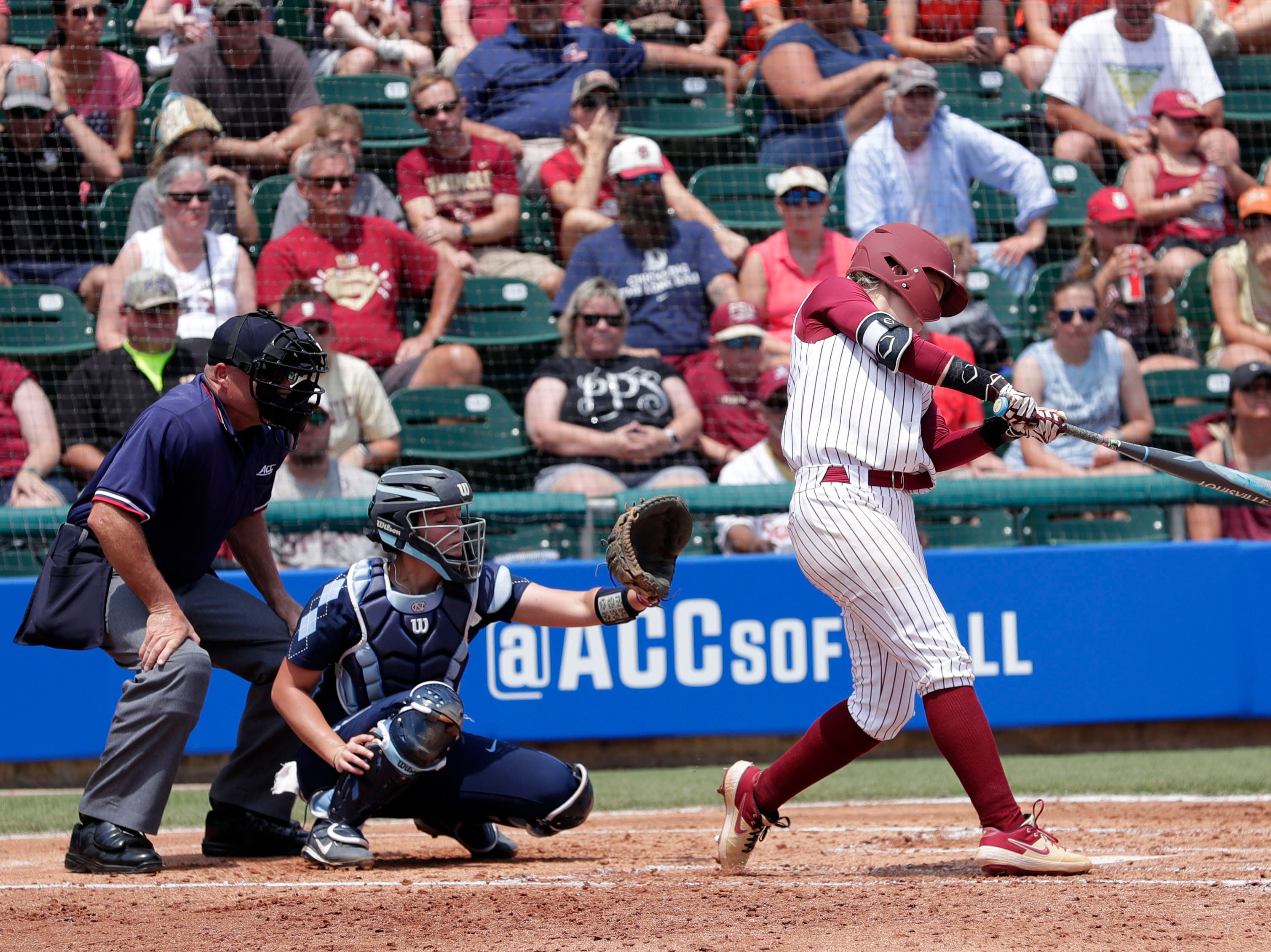 The Florida State Seminoles host the UNC Tar Heels for the ACC Softball Tournament finals Saturday, May 11, 2019.