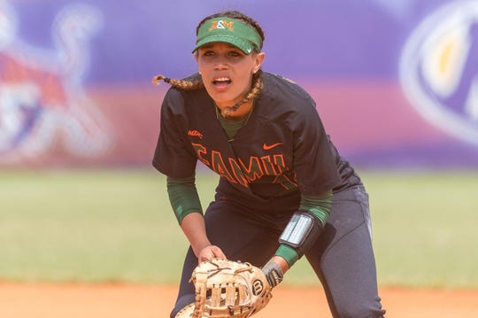 FAMU senior first baseman Taylor Rosier looks to make a play in the MEAC Softball Tournament.