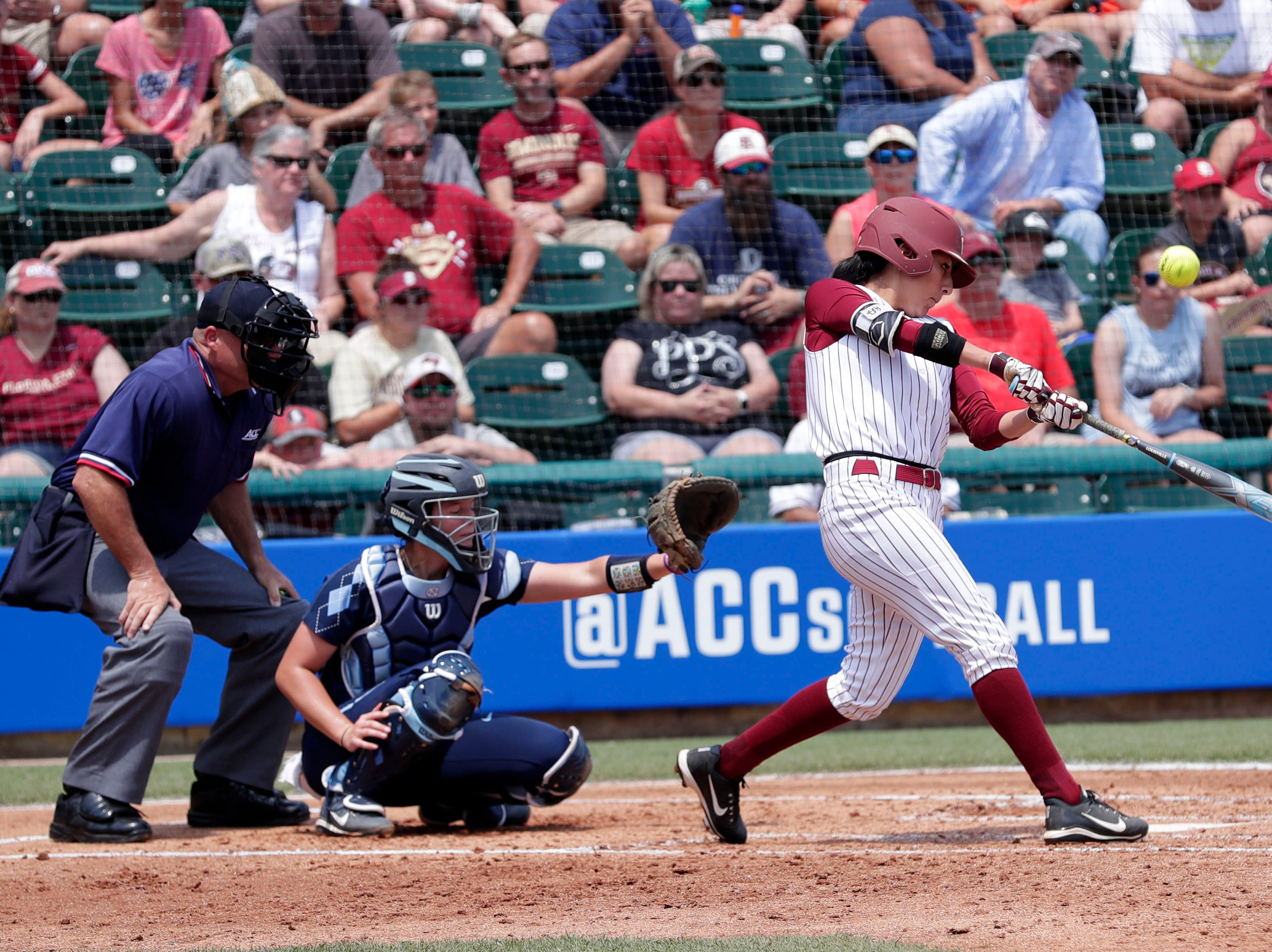 Florida State Seminoles outfielder Zoe Casas (6) makes contact on her swing. The Florida State Seminoles host the UNC Tar Heels for the ACC Softball Tournament finals Saturday, May 11, 2019.