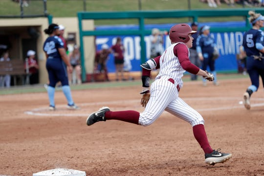 Florida State Seminoles infielder Dani Morgan (1) rounds first base. The Florida State Seminoles host the UNC Tar Heels for the ACC Softball Tournament finals Saturday, May 11, 2019.