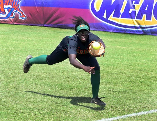 Senor outfielder Alexis Day robs a hitter with a diving catch during the 2019 MEAC Softball Tournament.