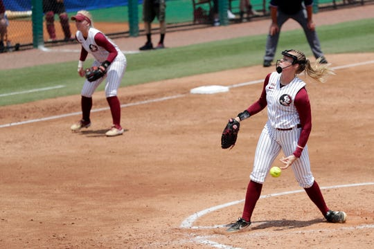 Florida State Seminoles relief pitcher Meghan King (48) pitches to the batter. The Florida State Seminoles host the UNC Tar Heels for the ACC Softball Tournament finals Saturday, May 11, 2019.