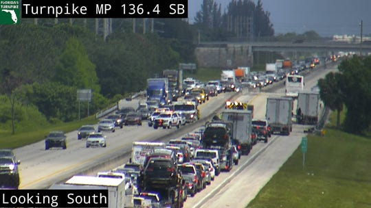 A crash on Florida's Turnpike near Stuart is blocking southbound and northbound lanes.