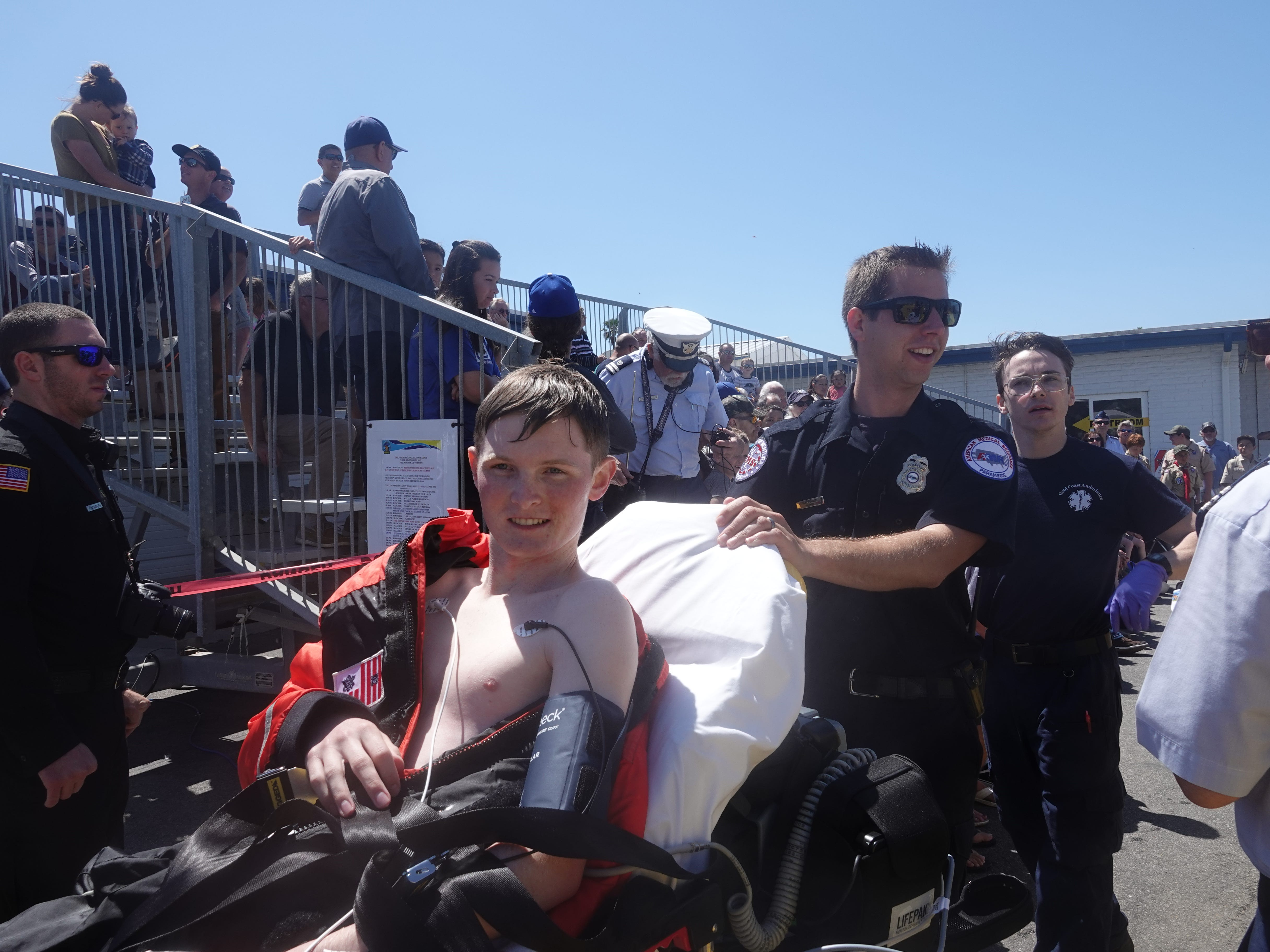 """Finn-Christian Baker, a Coast Guard Auxiliary member, was one of two boaters """"rescued"""" during a demonstration at Saturday's Safe Boating Expo at Channel Islands Harbor."""