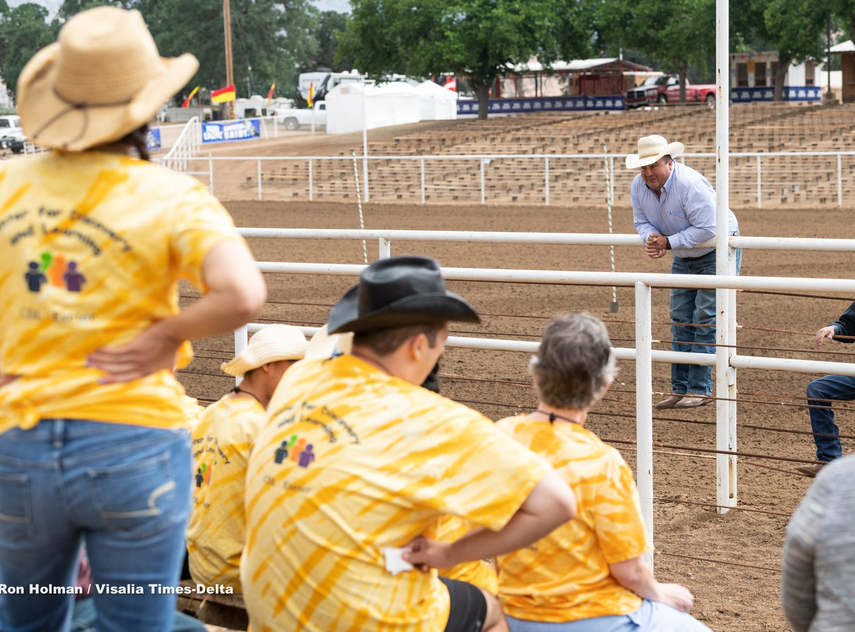 """The Woodlake Rodeo kicked off Friday with their first """"High-Five Rodeo"""" on Friday, May 10, 2019. Participants from Exeter's Center for Discovery and Learning were paired up with real-life cowboys and cowgirls and other performers to experience modified rodeo-related stations in the rodeo arena."""