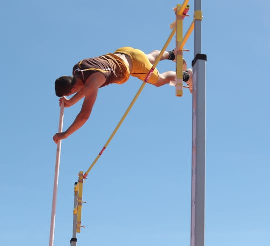 Clarkstown South's Tommy Qualter competes in the pole vault at the Loucks Games at White Plains High School on Saturday, May 11, 2019.