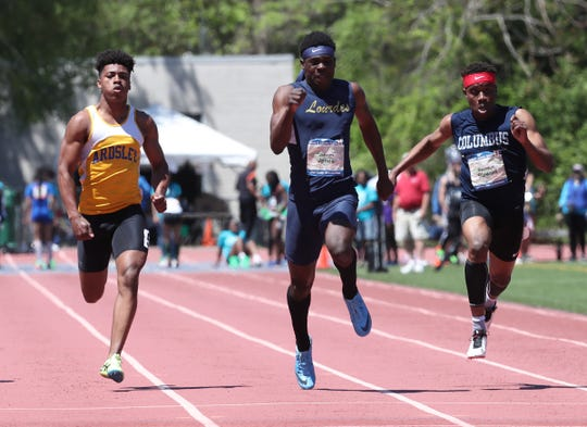 Ardsley's Jalen Osborne, left, and Lourdes  Jaheim Jones run the 100-meter dash at the Loucks Games at White Plains High School on Saturday, May 11, 2019.