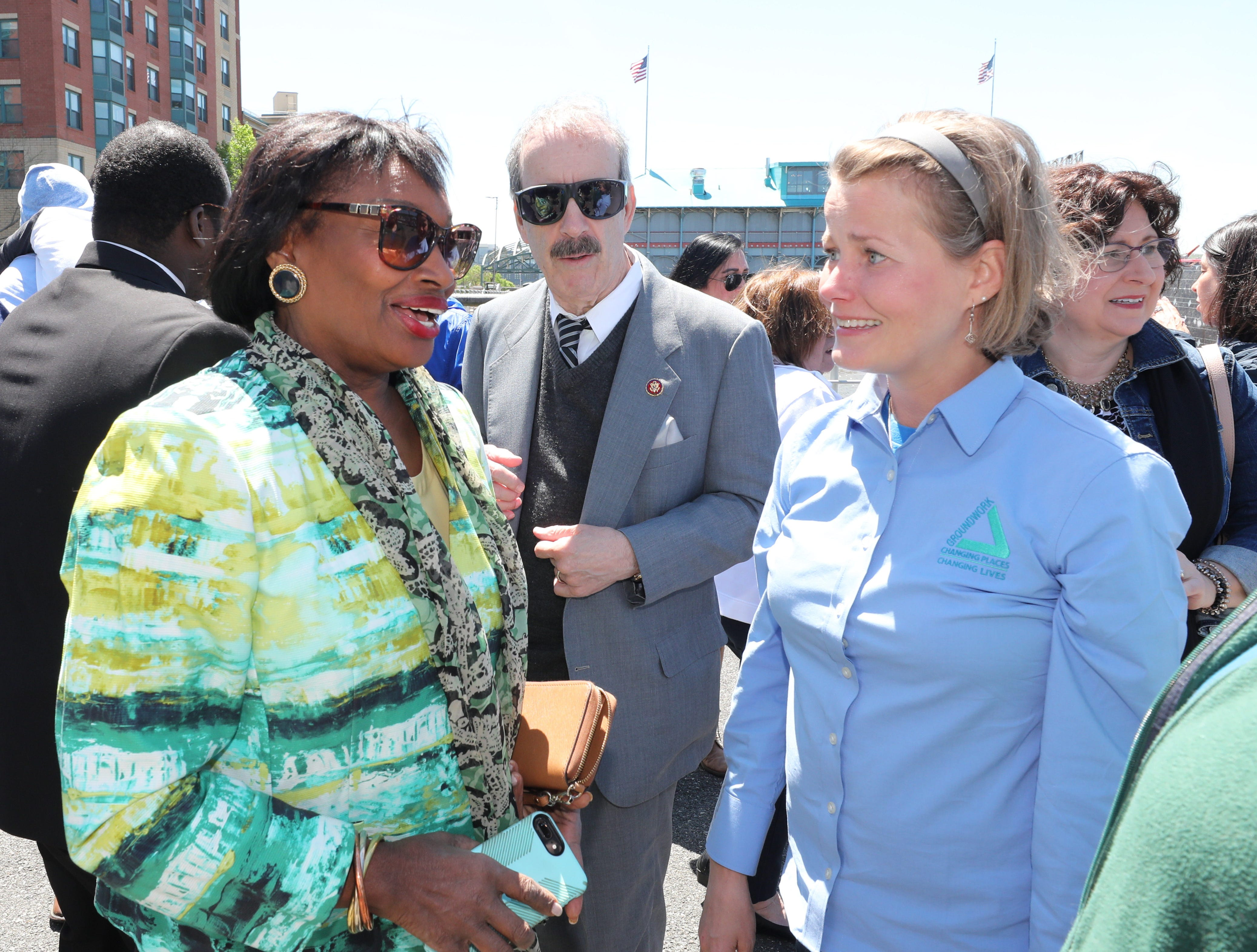 NYS Senator Andrea Stewart-Cousins, U.S. Rep Eliot Engel and Brigitte Griswold, the executive director of Groundwork Hudson Valley, are pictured during the 11th annual opening of the Science Barge  on the Hudson River in Yonkers, May 11, 2019. The floating environmental education center has undergone an almost $1million enhancement, completed over the past two years.