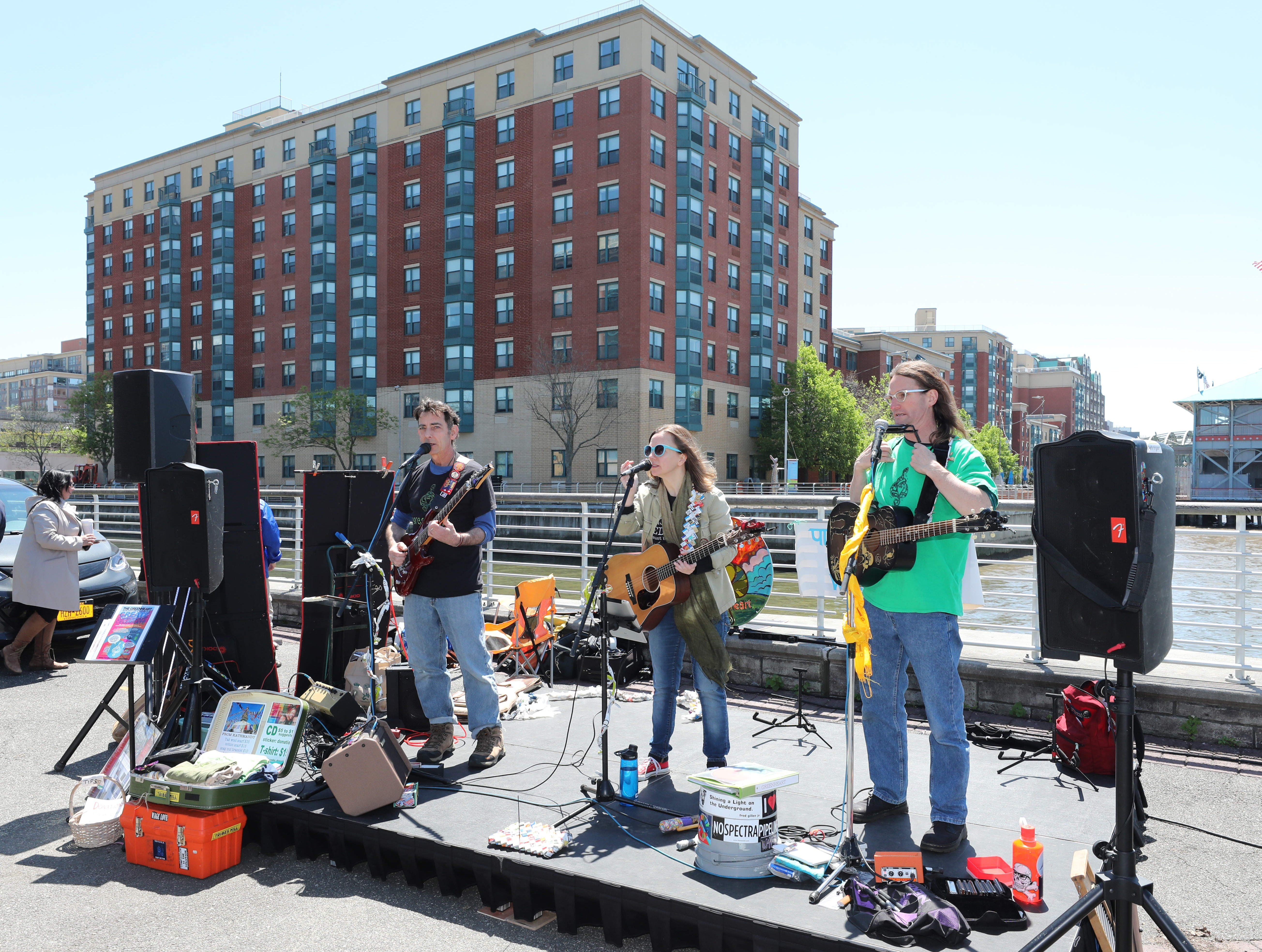 The band Greenheart entertains during the 11th annual opening of the Science Barge  on the Hudson River in Yonkers, May 11, 2019. The floating environmental education center has undergone an almost $1million enhancement, completed over the past two years.
