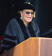 Congresswoman Alma Adams delivers the commencement address as Delaware State University graduates 750 students in its 134th commencement Saturday at Alumni Stadium.