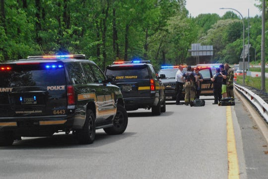 A New Castle County Police officer was stabbed in the leg on the Harvey Road I-95 off-ramp Saturday. His injuries were minor, but the officer was hospitalized. The man police say stabbed him also was hospitalized.