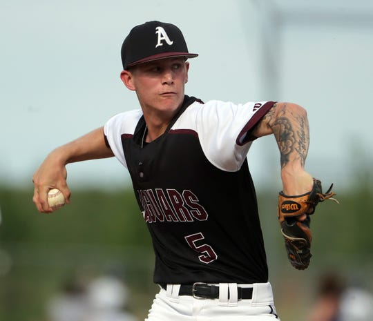 Appoquinimink pitcher Joe Davis throws in his start Friday against Delaware Military Academy, a 2-0 Jaguar win.