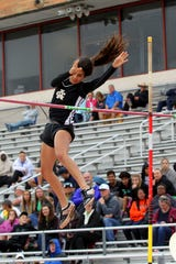 Archer City's Delaina Hanna competes in the 2A girls pole vault on Day 2 of the UIL State Field & Track Championship in Austin.
