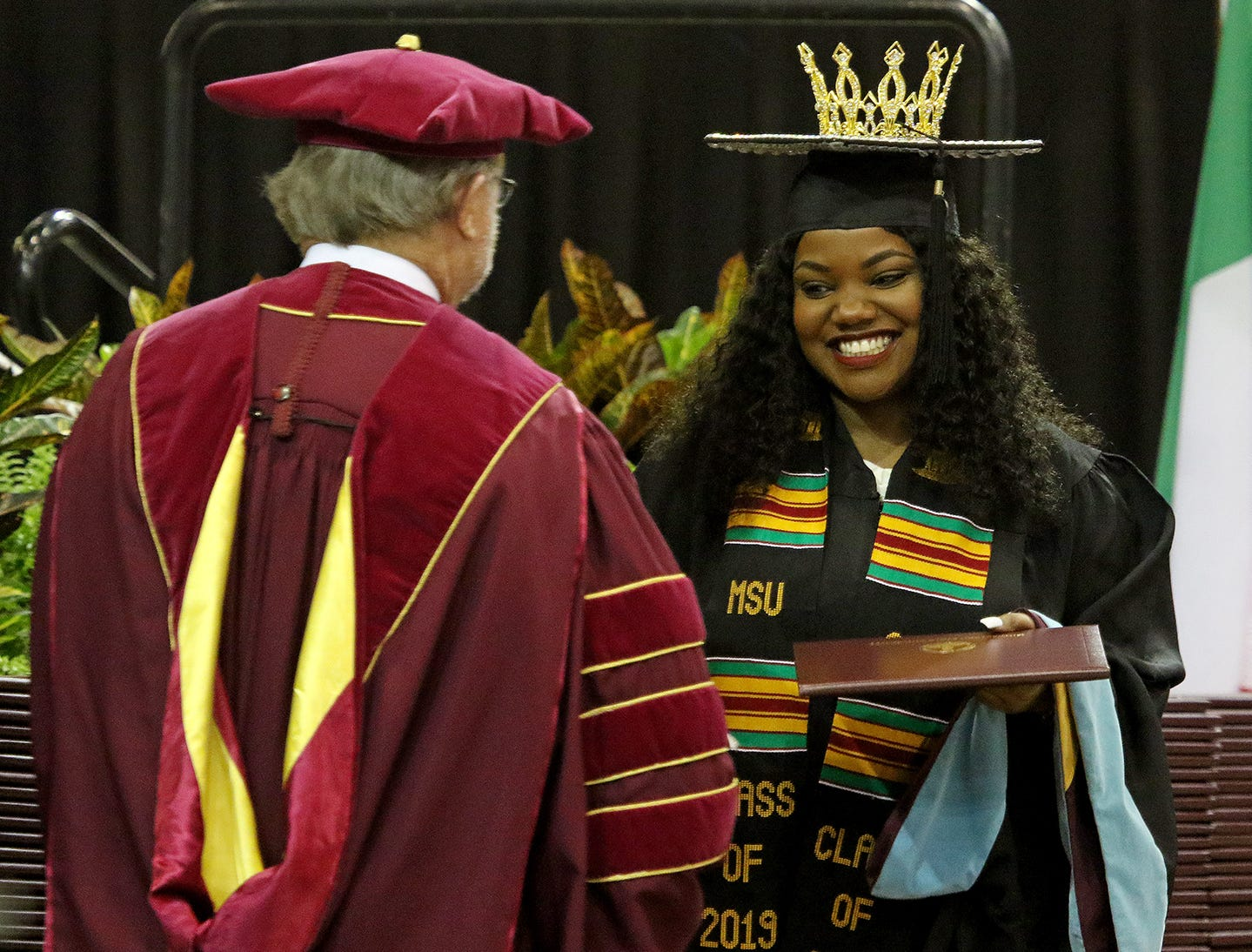 Masters degree graduates walk across the stage at Midwestern State University's Spring Commencement Saturday, May 11, 2019, in Kay Yeager Coliseum.