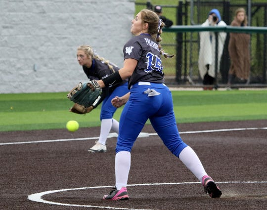 Windthorst's Laynie Brown pitches against Stamford Friday, May 10, 2019, in Iowa Park.