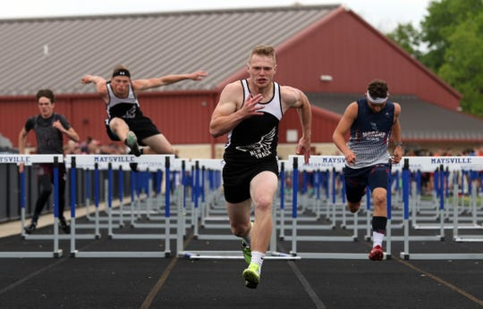 New Lexington's Christian Vance finishes second the 110 meter hurdles during the MVL finals last season. This year, many track and field athletes lost time to compete for the final time or gain experience. Coaches are working with underclassmen to develop plans to be ready for next season.