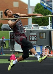 John Glenn's Joseph Clifford competes in the high jump during the MVL finals Friday.