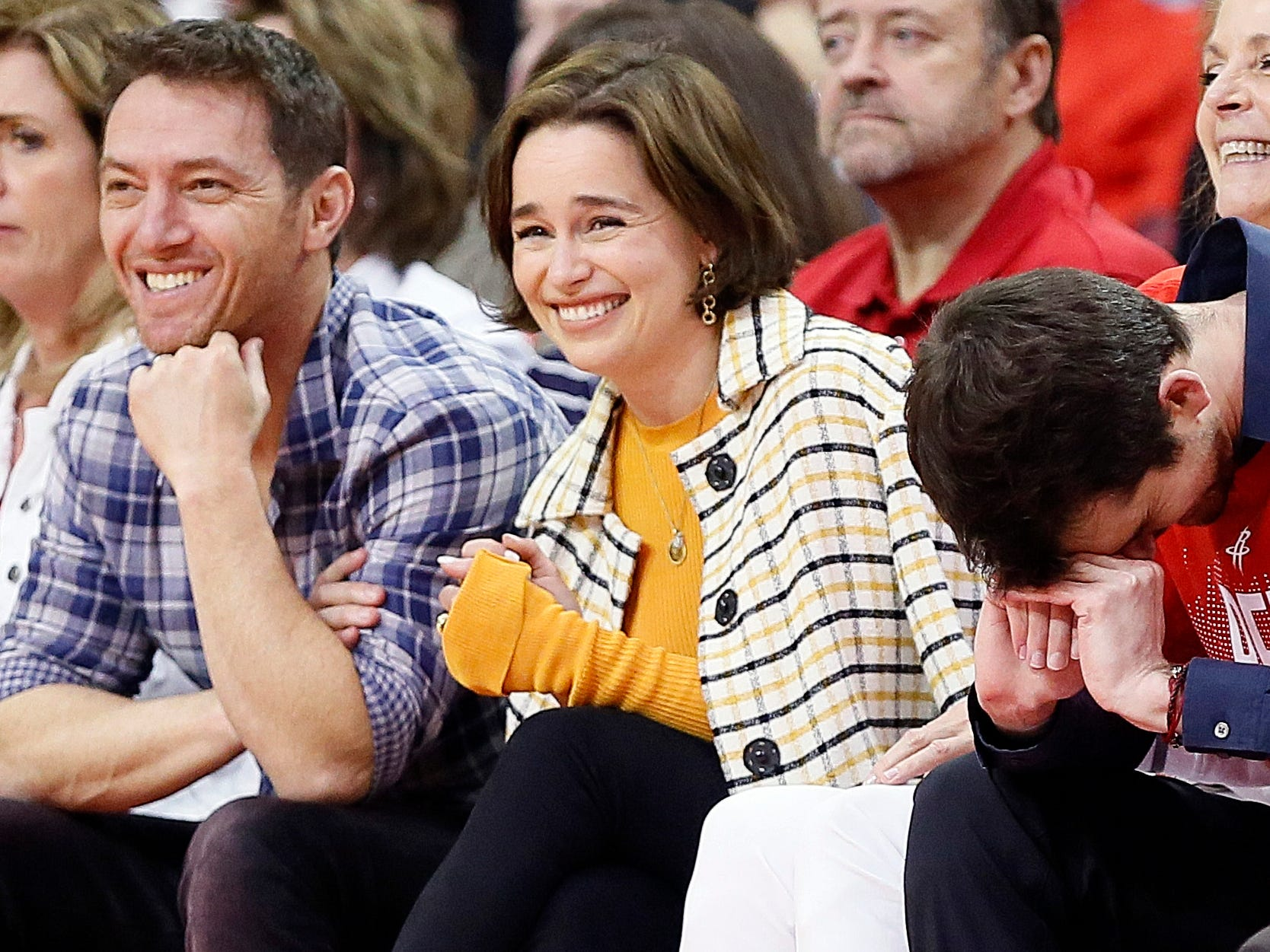 May 10: Game of Thrones actress Emilia Clarke takes in Game 6 between the Warriors and Rockets in Houston.