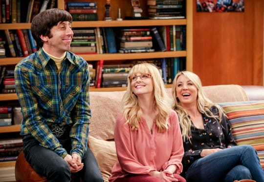 Howard (Simon Helberg), left, Bernadette (Melissa Rauch) and Penny (Kaley Cuoco) share a laugh during Thursday's one-hour series finale of CBS' 'The Big Bang Theory.'