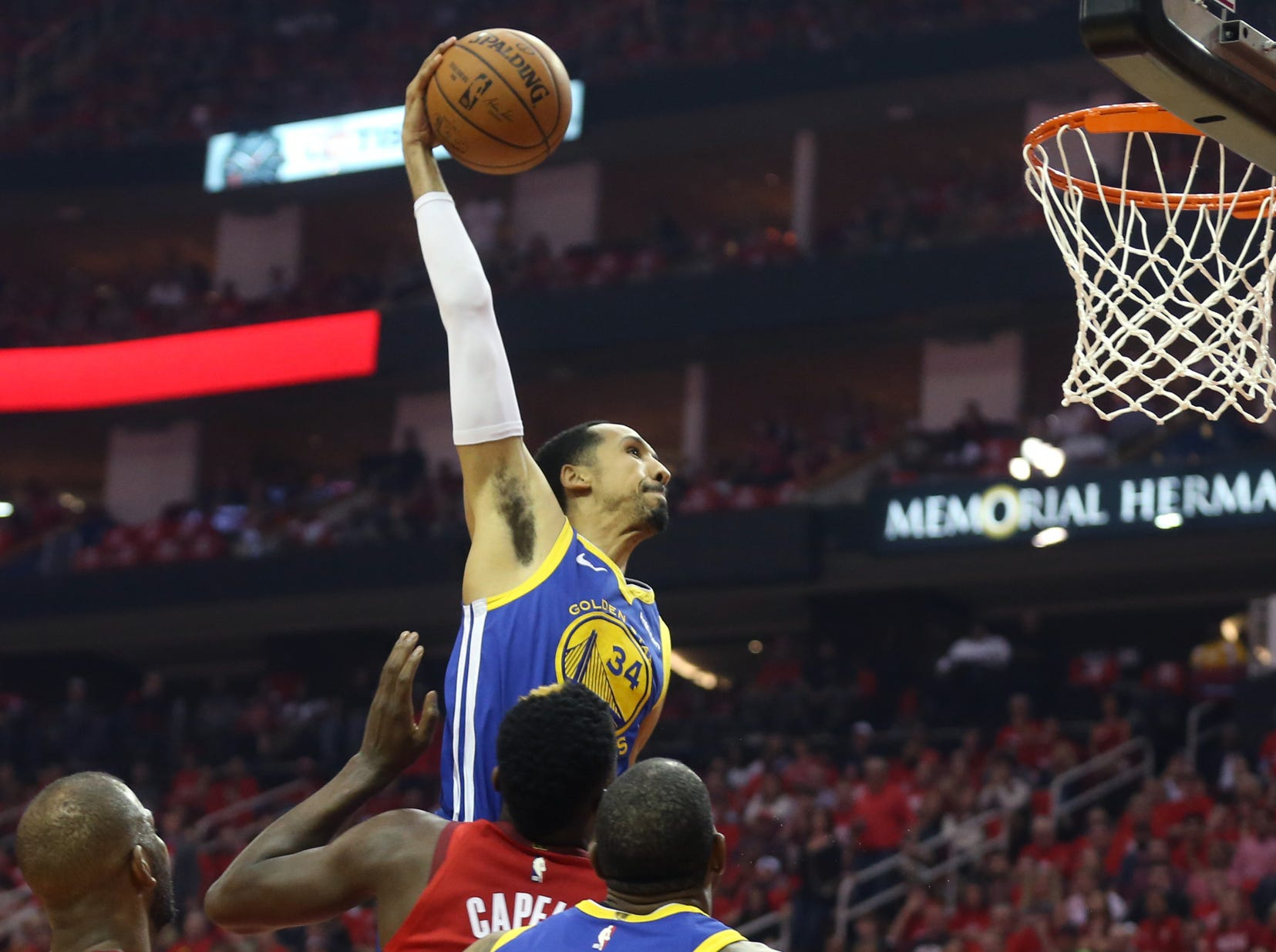May 10: Warriors guard Shaun Livingston rises up for the one-handed flush during Game 6 against the Rockets in Houston.