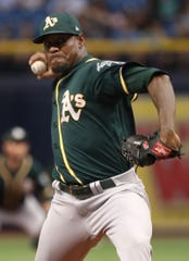 Edwin Jackson pitched for the Athletics in 2018.