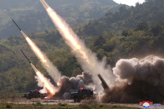 A photo released by the official North Korean Central News Agency shows missiles being fired during a drill at an undisclosed location in North Korea, on May 9, 2019.