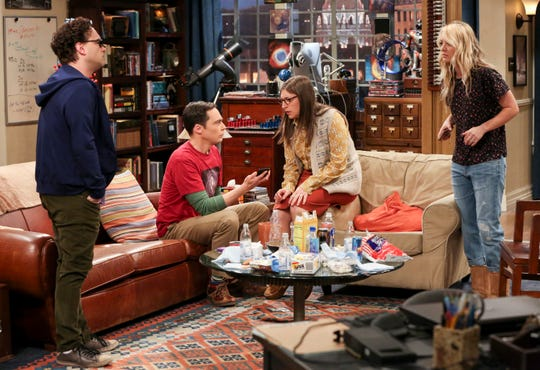 Leonard (Johnny Galecki), left, Sheldon (Jim Parsons), Amy (Mayim Bialik) and Penny (Kaley Cuoco) are getting a bit cranky - OK, Sheldon started off that way - as they await major news on Thursday's series finale of 'The Big Bang Theory.'