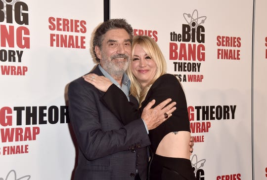 "PASADENA, CALIFORNIA - MAY 01: Chuck Lorre and Kaley Cuoco attend the Series Finale Party for CBS' ""The Big Bang Theory""  at The Langham Huntington, Pasadena on May 01, 2019 in Pasadena, California. (Photo by Alberto E. Rodriguez/Getty Images) ORG XMIT: 775332937 ORIG FILE ID: 1146468057"