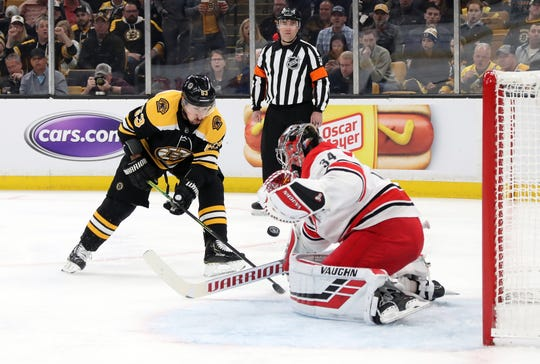 Brad Marchand shoots the puck against Petr Mrazek.