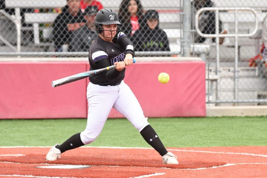 Wylie's Bailey Buck (4) swings at a pitch during the 2019 playoffs. Buck got the 2020 season off to an impressive start going 11 of 21 with 17 RBIs, nine runs scored, five doubles, a home run and three walks in seven games to earn ARN Local Player of the Week honors for the week ending Feb. 22.