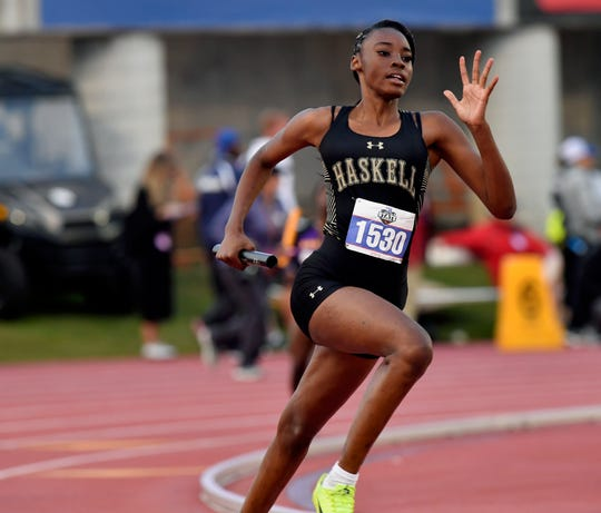 Haskell's Lanayah Green competes in the Girl's Class 2A 800 Relay at the UIL State Track & Field Championships in Austin Saturday May 11, 2019.