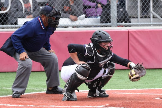Wylie's Kaylee Beard (18) frames a pitch against Lubbock Coronado in Game 3 of the 2019 Region I-5A quarterfinal at Hermleigh. Beard split time behind the plate and as a designated player for the Lady Bulldogs. Beard is planning on attending Southern Methodist University in the fall.