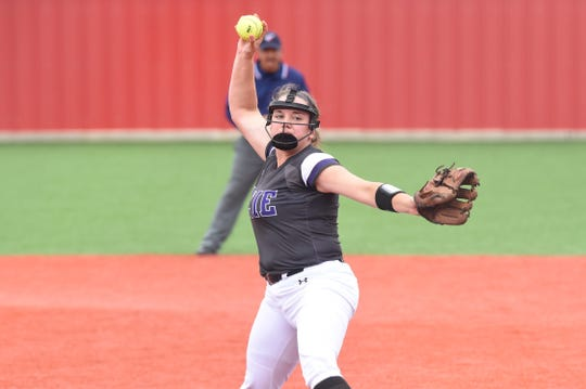 Wylie's Bailey Buck (4) pitches against Lubbock Coronado in Game 3 of the Region I-5A quarterfinal at Hermleigh on Saturday, May 11, 2019. The Lady Bulldogs won the game 10-7 and the series 2-1.