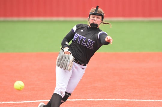 Wylie pitcher Kaylee Philipp (3) follows through against Lubbock Coronado during the Region I-5A quarterfinal series. Philipp, who signed with ACU during the offseason, will be a key piece for the Lady Bulldogs in 2020.