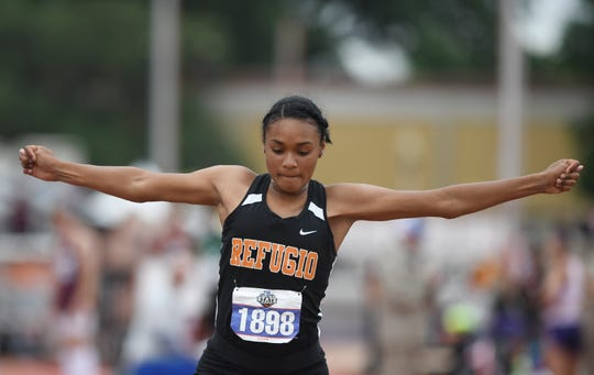 Refugio's Alexa Valenzuela competes in the triple jump during the UIL State Track and Field meet, Saturday, May 11, 2019, in Austin.