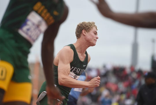 Strake Jesuit's Matthew Boling competes in the 4x100 meter relay during the UIL State Track and Field meet, Saturday, May 11, 2019, in Austin.