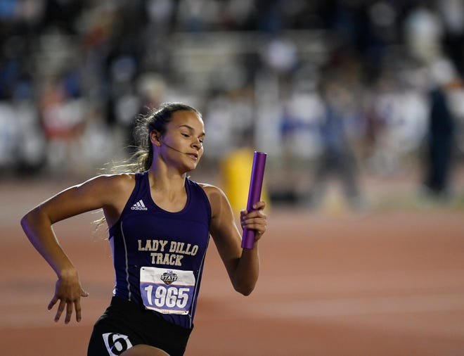 San Saba's Courtnee Cash competes in the girls 4x400 meter relay during the UIL State Track and Field meet, Saturday, May 11, 2019, in Austin.